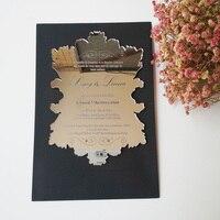 Sample Order For 5 7inch Vintage Leaf Shape Silver Mirror Acrylic Wedding Invitation Card