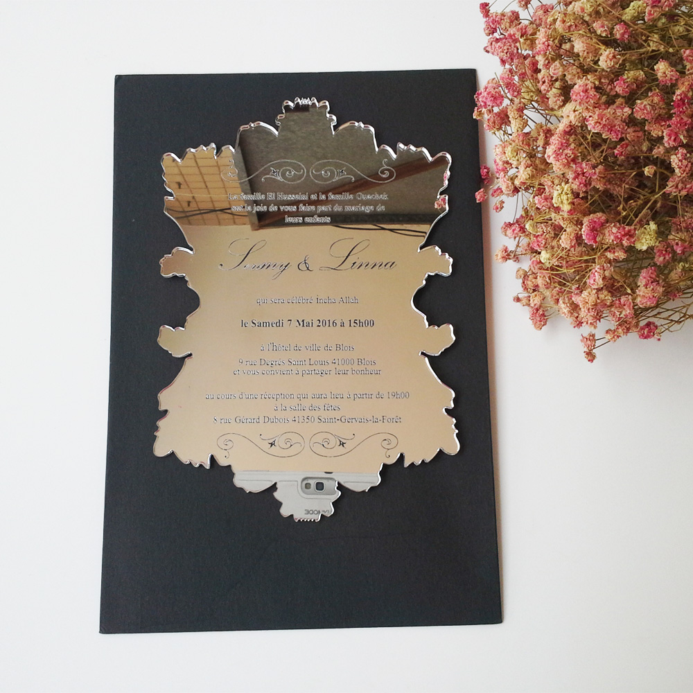 Aliexpress Sle Order For 5 7inch Vine Leaf Shape Silver Mirror Acrylic Wedding Invitation Card From Reliable Invitations