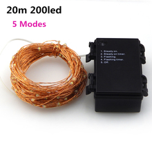 5Modes 20M 200 led 6AA Battery Powered Copper Wire Fairy String Light Lamp Waterproof For Christmas Holiday Wedding Party