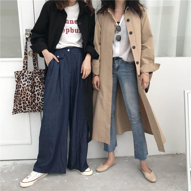 Women Autumn Long Sleeve cloak Long Trench Coat Female Pocket cardigan Straight Shirt Windbreaker Manteau Femme Hiver Overcoat 8