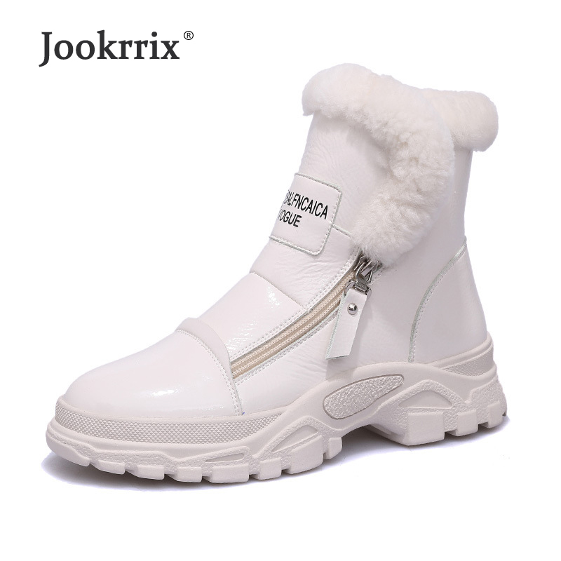 Jookrrix White Shoes Women Fashion Brand Warm Martin Boots with Fur Lady chaussure 2018 Winter Female footware Black Ankle Boots