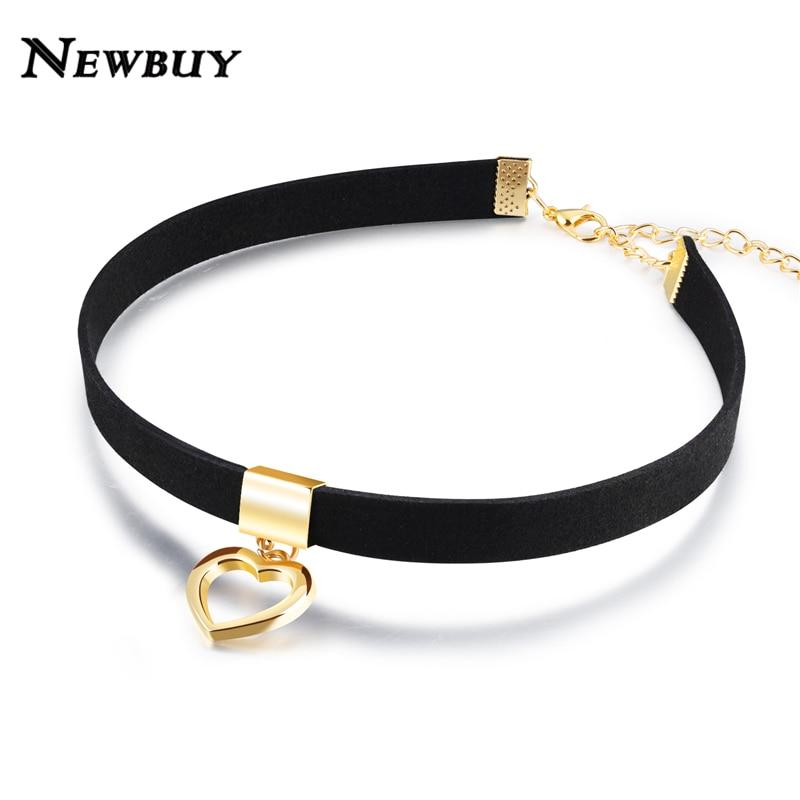 25711b97583 NEWBUY Vintage Velvet Gold-color Heart Short Choker Necklaces For Women  Jewelry Female Chokers Necklaces