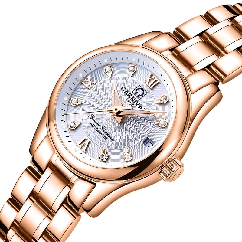 Carnival Women Watches Luxury Brand ladies Automatic Mechanical Watch Women Sapphire Waterproof relogio feminino C 8830