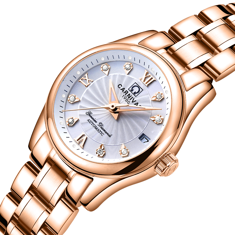 Carnival Women Watches Luxury Brand ladies Automatic Mechanical Watch Women Sapphire Waterproof relogio feminino C-8830-9 2017 carnival luxury brand mechanical watch women leather bracelet waterproof sapphire mirror stainless steel automatic watches