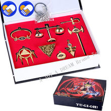 2018 New 8pcs/set Yu Gi Oh Seven Artifact Action Figure Collectible Toys 4-10cm YuGiOh Necklace Keychain Model toys Best Gifts(China)