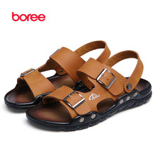 Boree 2016 New Summer Men's Sandals Fashion Beach Casual Shoes Soft Leather Decor Flat Classics Buckle Peep Toe Slippers SDL0218
