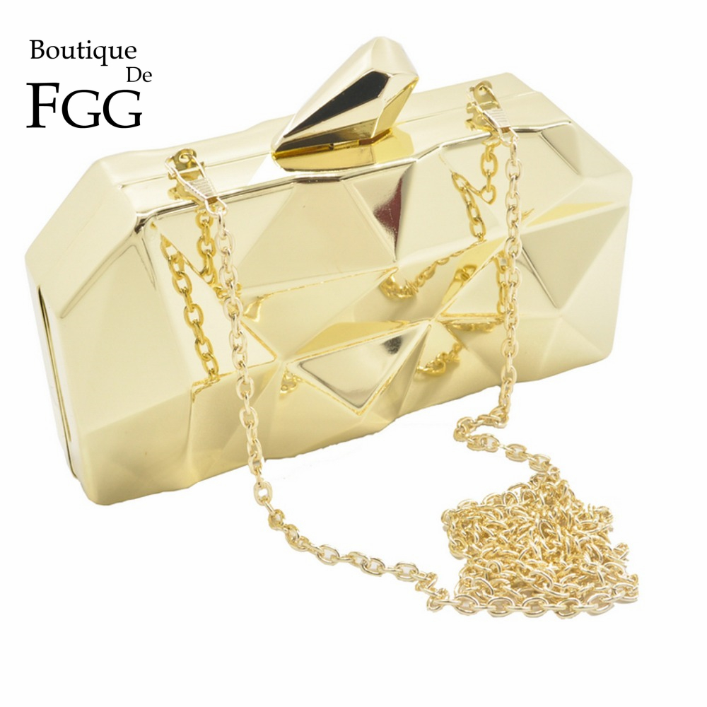 Image 5 - Boutique De FGG Hexagon Women Rose Gold Metal Clutches Fashion Evening Party Box Clutch Bag Chain Shoulder Handbag Purse-in Top-Handle Bags from Luggage & Bags