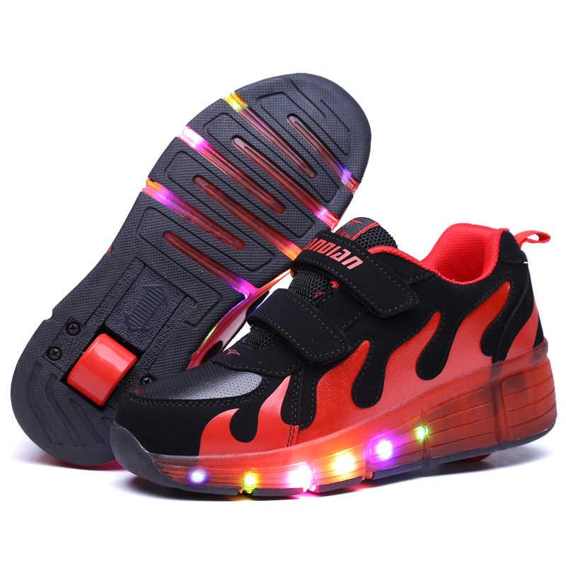 Negro zapatos de niños Con LED niños rodillo niños Skate Zapatillas Heelys ruedas brillante luz Led para niños niñas Zapatillas Con ruedas