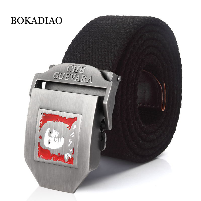 Bokadiao Men&women Military Canvas Belt Che Guevara Metal Buckle Jeans Belt Army Tactical Belts Men Luxury Waistband Strap Male For Improving Blood Circulation Apparel Accessories