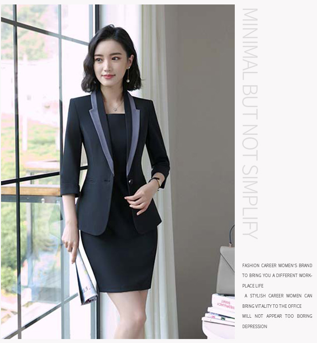Hot Ladies Dress Suit for Work Full Sleeve Blazer Sleeveless Dress 2 Pieces Set 19