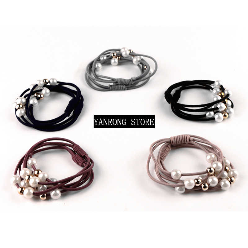 2019 New Fashion Women Girls Hair Accessories Pearl Elastic Rubber Bands Headbands Ponytail  Scrunchy Rope Hair Jewelry