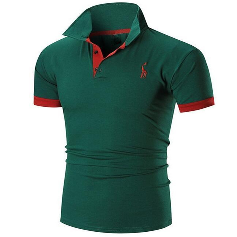New 2018 Fashion Summer   polo   Male Short Sleeved Male Frontal Fawn Light Printed Casual Tees Tops Brand   polo   Shirts Men Clothing