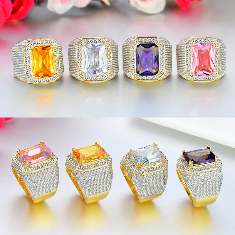 4Colors Tready  HIP Hop Copper Full Zircon Ring For Women Men Jewelry Dropshipping Couple gift