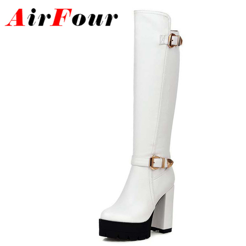ФОТО Airfour Knee High Boots Women High Heel Boots Black White Shoes Woman Round Toe Winter Platform Boots Buckle Long Knight Boots