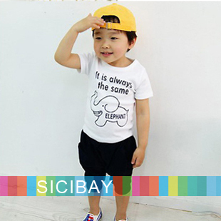 Boys Summer Cartoon Suits Elephant Sets Kids Wear, Elephant Tshirts + Casual Shorts,Free Shipping