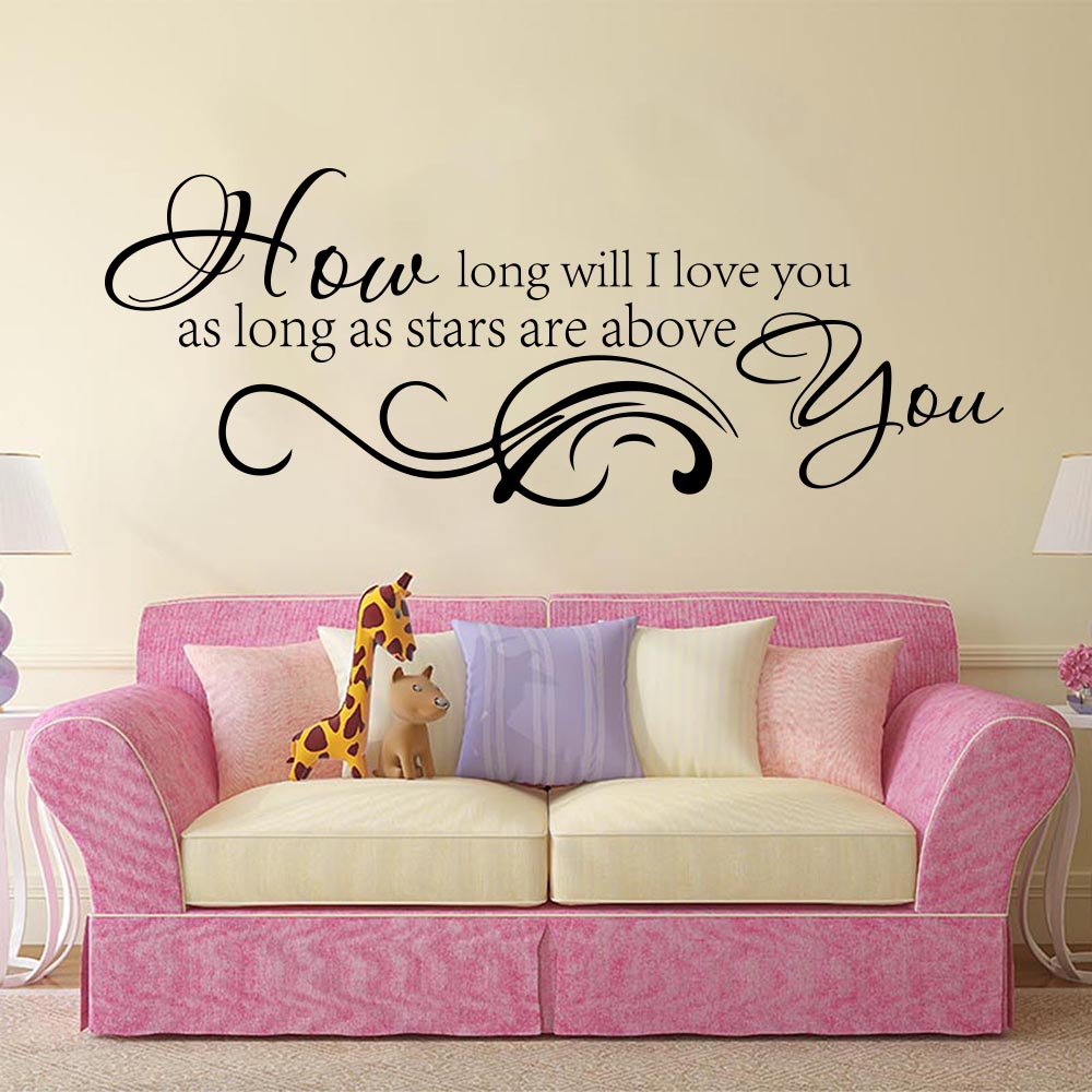 How Long Will I Love You Quote Song Lyric Wall Sticker Bedroom Girl Room Music Family Love Quote Wall Decal Nursery Kids Room image
