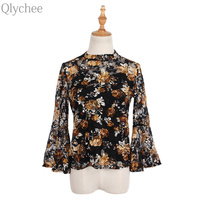 Qlychee Lace Flower Flare Sleeve Blouse Women Korean Summer Stand Collar Shirts