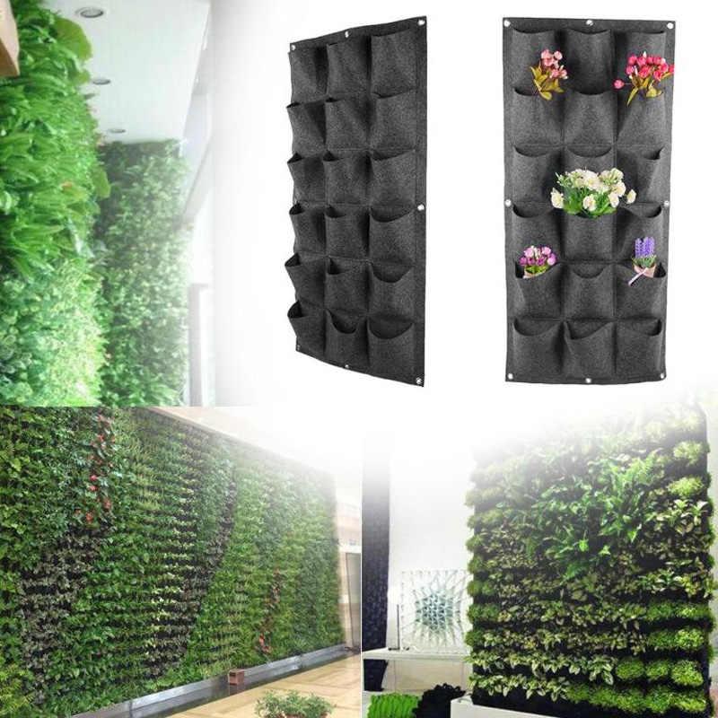 18 карманов нетканые посадки мешок сад Вертикальная висячая стена Зеленый завод дышащие мешки для посадки, роста для домашнего садоводства Gr