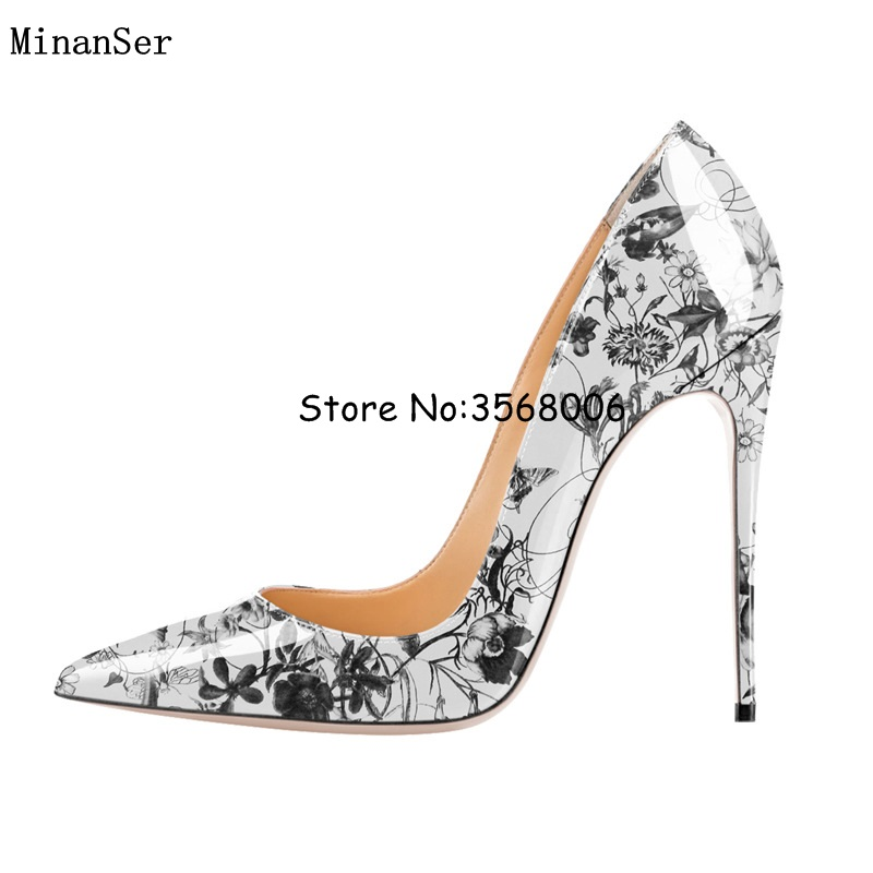 Luxury Printed Leather Pointed Toe High heels Newest Stiletton Heels Pumps Shallow Party dress lady shoes