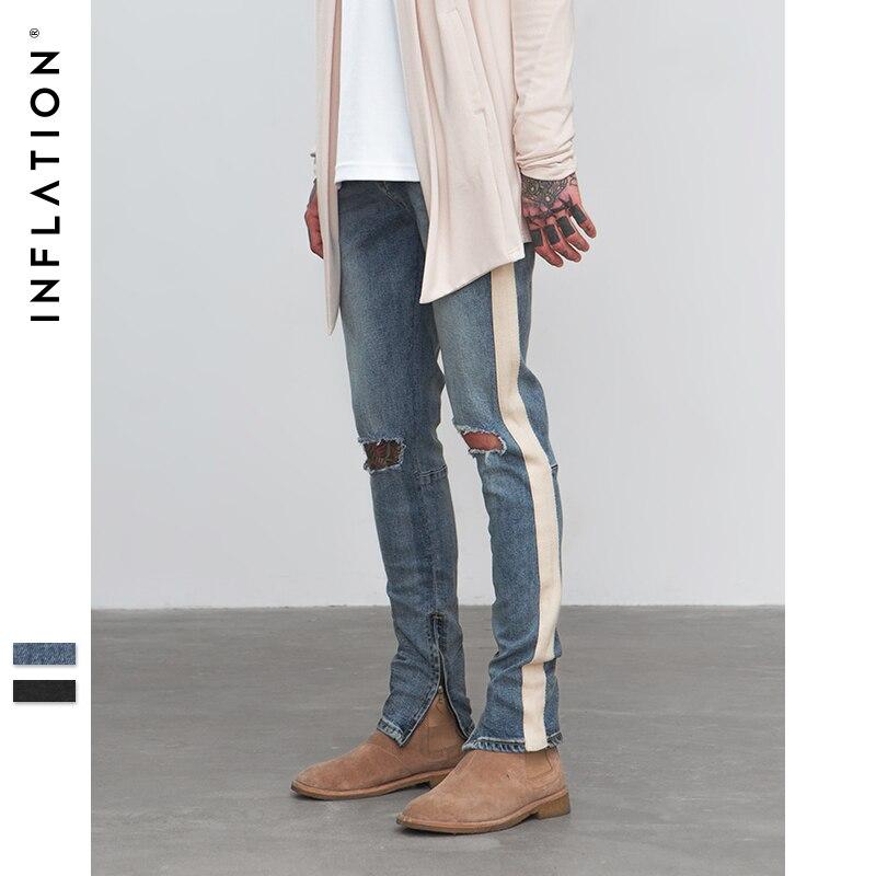 Инфляции 2018 рваные потертые брюки для Для мужчин Тощий уничтожены в полоску рваные эластичные джинсы слим Повседневное High Street Брюки 8847 Вт