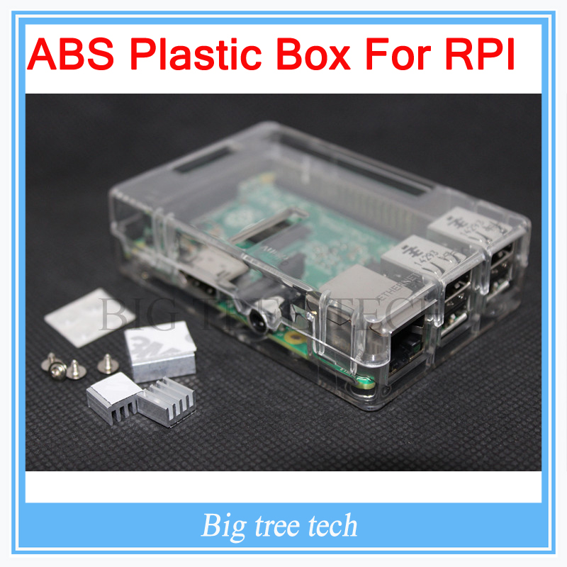 Raspberry Pi Box ABS Plastic Clear case for Raspberry Pi 3 & model b plus & Raspberry Pi 2 + 3pcs heat sink raspberry