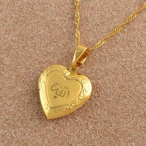 Image 5 - Anniyo serce Allah naszyjnik wisiorek dla kobiet biżuteria muzułmańska mężczyzn, złoty kolor Islam Chain naszyjniki prorok Muhammad #201902