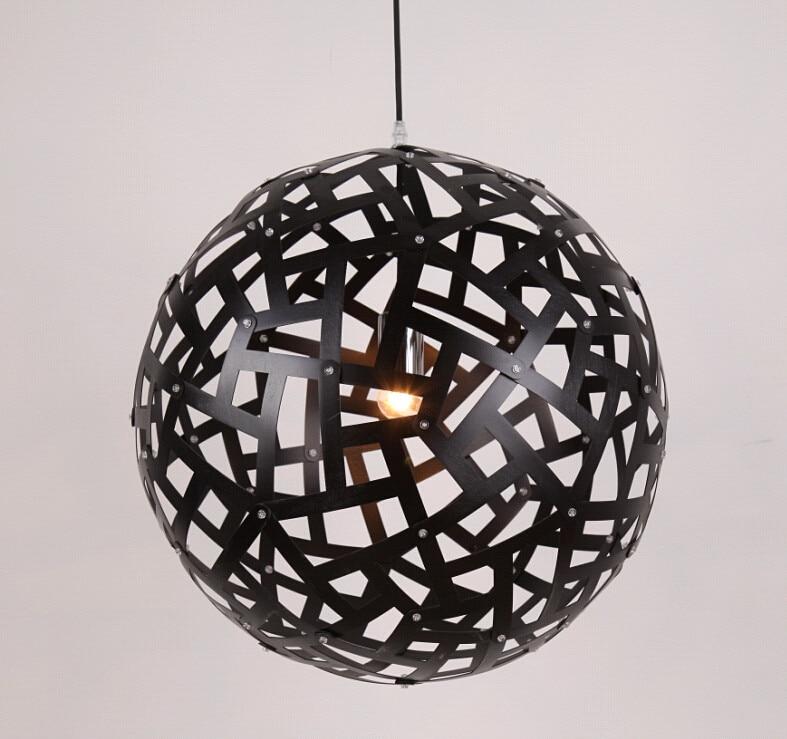 Rural Style Vintage Ply-Wood Chips Art Chandelier Handmade Indoor E27  Black Spherical Led  Hang Lamp For Stairs&cafe&bar BT290