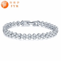 FYM Brand Silver Color Round Bracelets Bangles For Women With Clear AAA Cubic Zirconia Bracelets