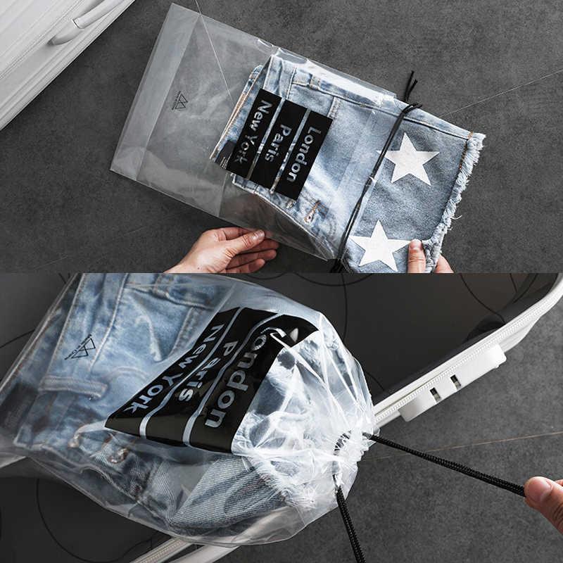 BalleenShiny 5 pçs/set Bolsas Com Cordão de PVC Bolsa Transparente Sacos De Armazenamento de Artigos Diversos Viagem À Prova D' Água de Lavagem Sacos de Neaten