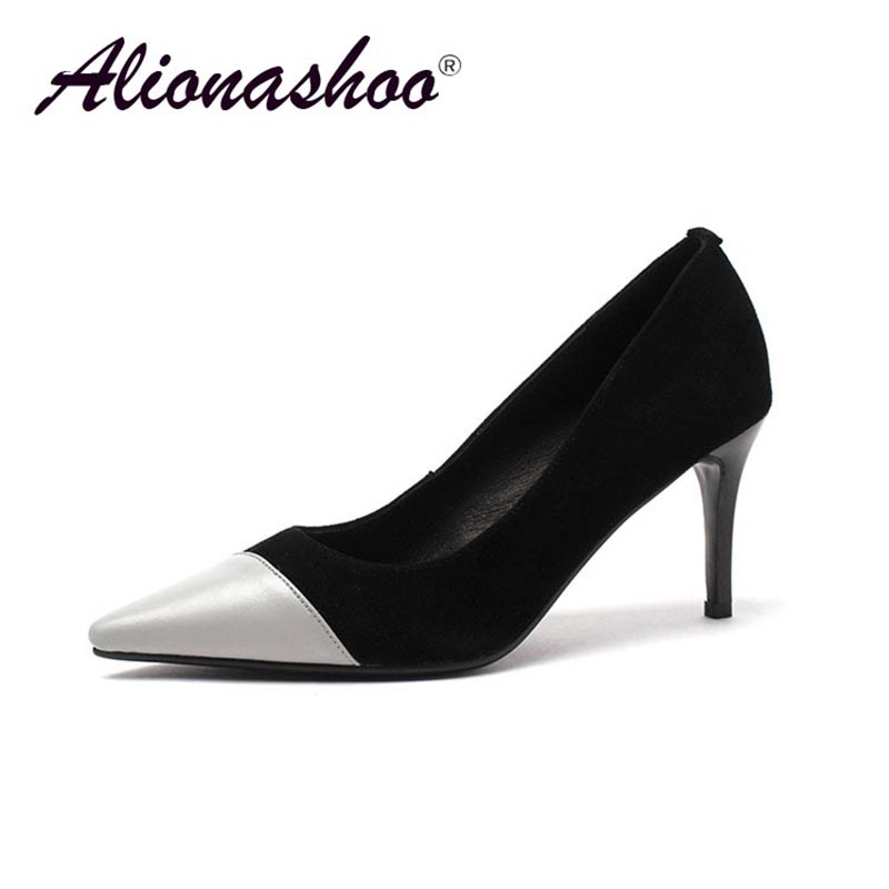 Heel Pumps Party-Shoes Pointed-Toe Black Plus-Size Genuine-Leather Women Fashion Ladies
