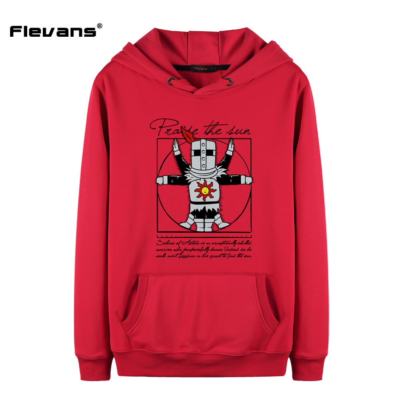 Flevans Funny Cartoon Hoodies for Men Dark Souls Praise Sun Long Sleeve Mens Hooded Pullover Autumn Winter Man O-neck Swearshirt ...