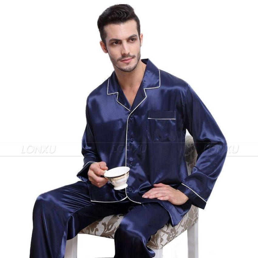 fe2849b769 Luxury Men s Silk Satin Pajamas Pyjamas Set Sleepwear Set Loungewear-in Men s  Pajama Sets from Underwear   Sleepwears on Aliexpress.com