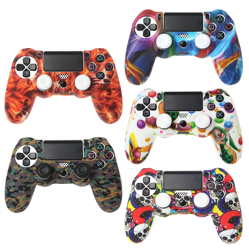Silicone Gamepad Skin Grip Cover Protector <font><b>Case</b></font> + 2 Caps Kit For <font><b>PS4</b></font> Controller image