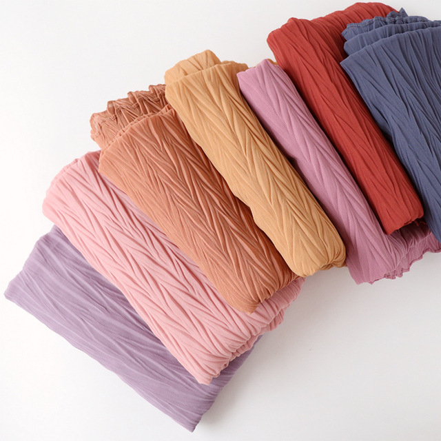 Long Scarf Muslim Headscarf Headband Wrinkles Solid Color Quality Scarf Solid Color Womens Cotton Wrinkles Wrap Bubble Shawl