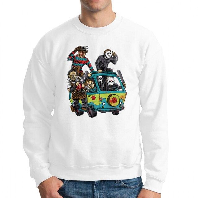 0b3fd403288 Men s The Massacre Machine Horror Sweatshirt Chucky Jason Voorhees Michael  Myers Hoodie Freddy Pullover 100%