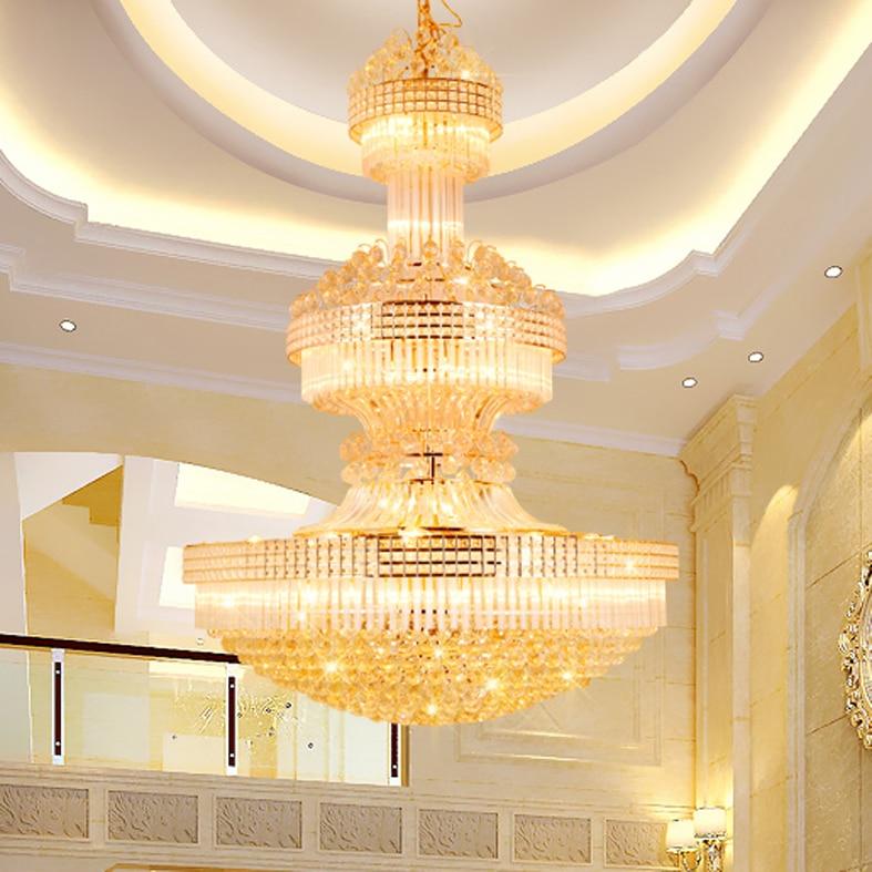 Lustre en cristal moderne Long lustres en or luminaire blanc chaud neutre blanc froid blanc 3 couleurs Dimmable lampes LED