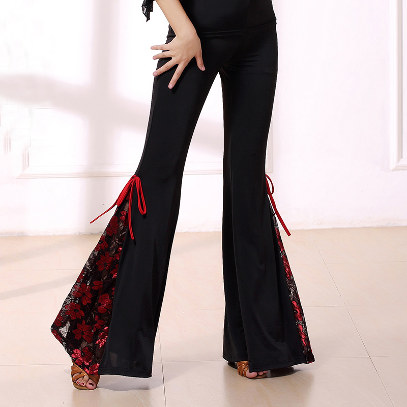 Fashion Modern Lace Flower Latin Dance Costume Practice Clothes Long Trousers For Female/women,Ballroom Performance Wears KE0112