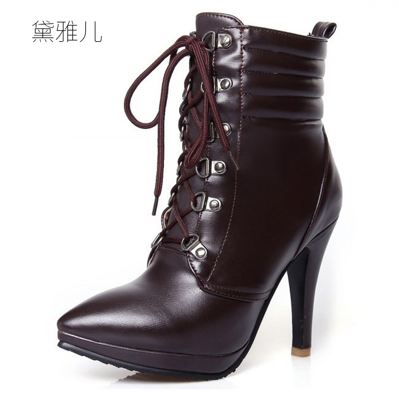 Small Size 32-43 Black Lace-up 2018 High Heel Ankle Boots for Women Ladies Shoes Woman Girl White 33 34 2017 size 32 43 fashion black lace up high heels women boots ankle ladies shoes woman spring autumn chaussure femme 33 34 white