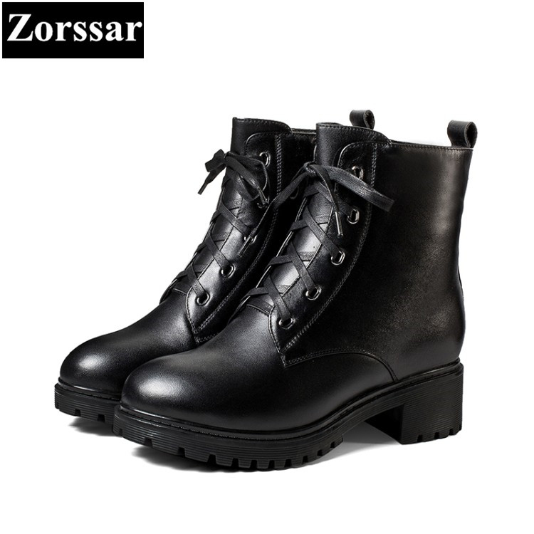 все цены на {Zorssar} New fashion Genuine Leather womens boots Solid Med heel ankle Motorcycle boots winter warm women shoes bottine femme онлайн