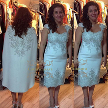 Plus Size Fit and Flare / Mermaid Cap Sleeves Neck Tea Length Over Lace Mother of the Bride Dress with Appliques