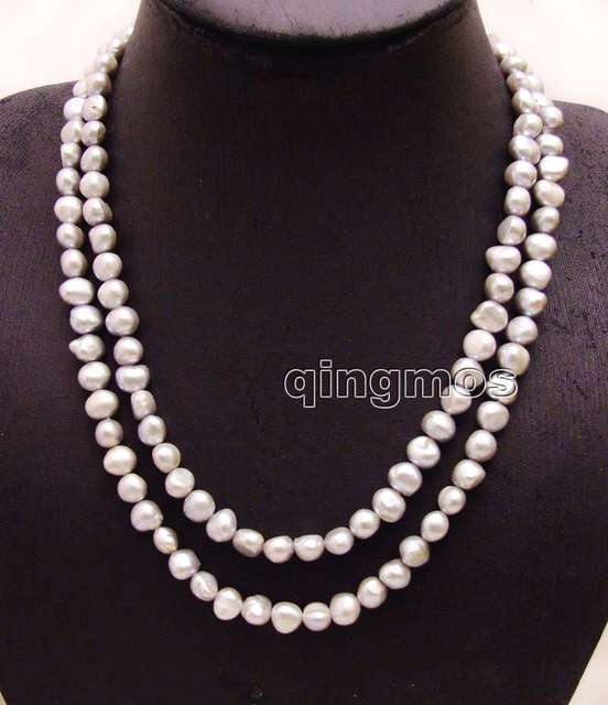"Fashion Long 40"" Natural Gray 8-9mm Baroque freshwater pearl necklace-nec6157 wholesale/retail Free shipping"