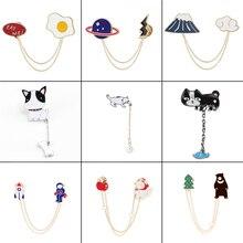 16 стилей, индивидуальные металлические эмалированные булавки, нагрудные броши, значки, растения, животные, собаки, кошки, яйцо, облако, женские модные ювелирные изделия, подарок для нее