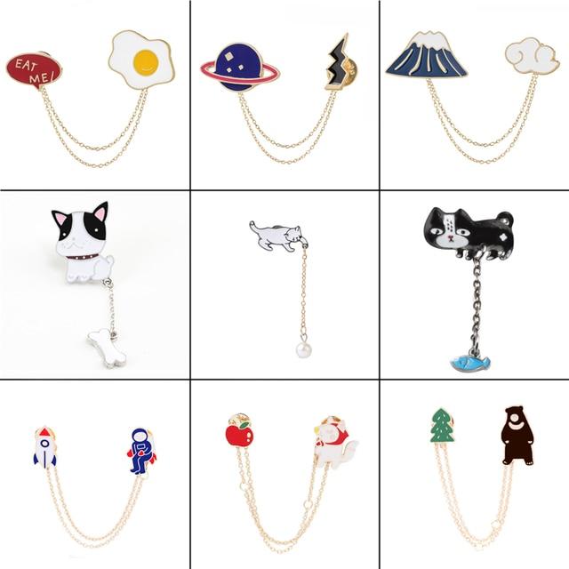 16 phong cách cá tính kim loại Men chân Ve Áo Trâm Cài Phù Hiệu cây động vật chó mèo trứng đám mây Phụ Nữ thời trang đồ trang sức Quà Tặng cho của cô