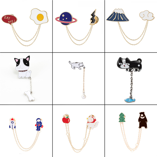 16 style personality metal Enamel pins Lapel Brooches Badges plants animal dog cats egg cloud Women fashion jewelry Gift for her