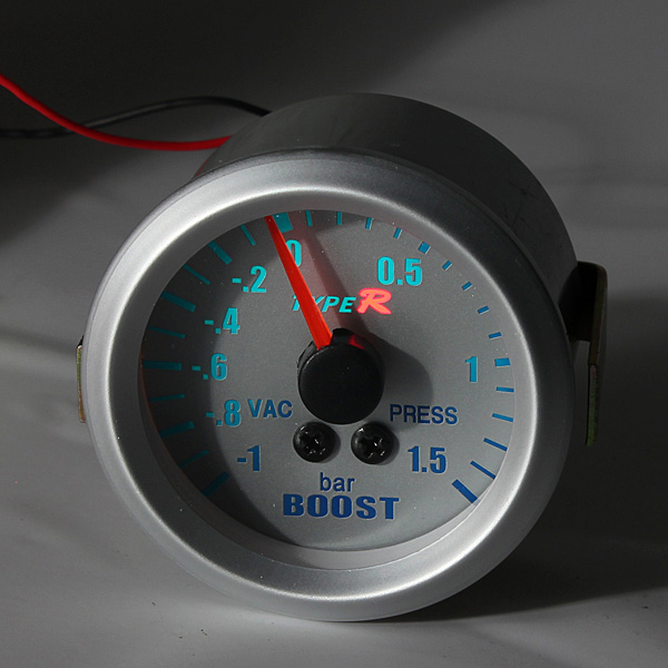 2 inch 52mm White Blue Phantom 2 1/16 inch Pointer Boost Vacuum Meter Gauge -1 1.5 BAR
