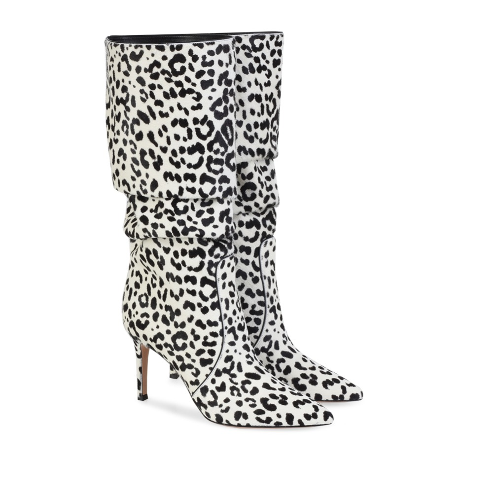 Leopard Stretch Primavera 45 Rodilla pu Grande pink La Zapatos De Stilettos Alto Para Lining Tacón Botas Lining Lining white Brown Moda Alta Sexy Otoño pu Mujer Tamaño pu wqC7wrO