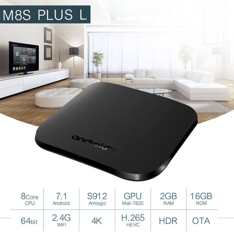 Mecool M8S Plus L Android Smart TV Box Amlogic S912 Octa Core 2GB 16GB 2.4G Wifi TVbox 4K H.265 Streaming Media Player 5pcs DHL mecool m8s plus w tv box android 7 1 amlogic s905w octa core 2gb 16gb 2 4g wifi media player smart mini pc set top box