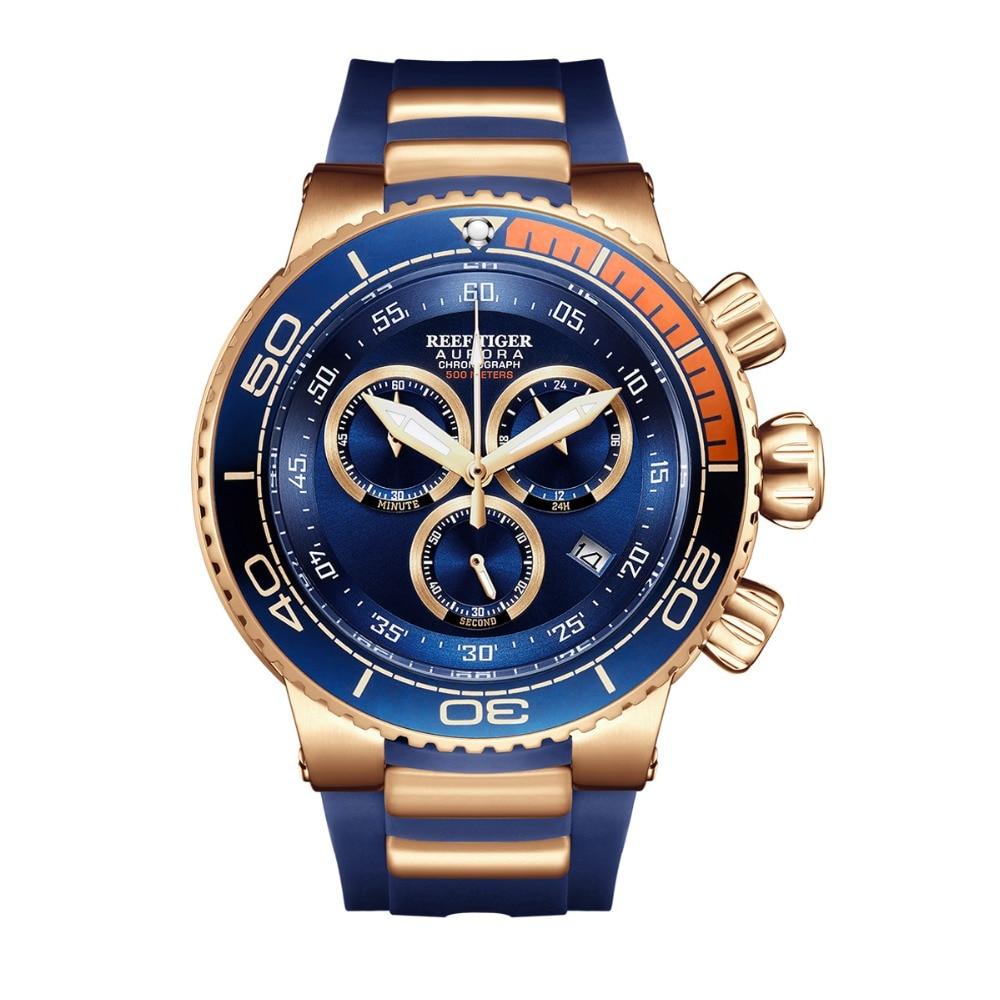 Riff Tiger/RT Top Marke Luxus Blau Sport Uhr für Männer Rose Gold Wasserdicht Uhren Rubber Strap Relogio Masculino RGA3168 - 4