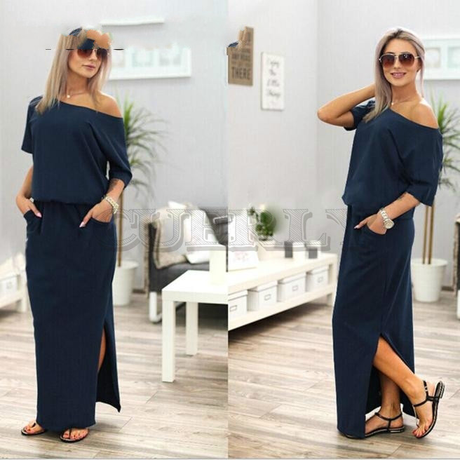 Free Ostrich 2019 Women Summer Long Maxi Boho Evening Party Dress With Pocket Solid Casual Fashion Navy Blue Long Dress For Lady in Dresses from Women 39 s Clothing