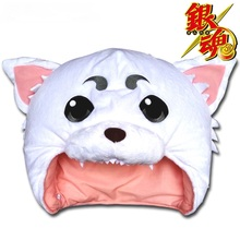 2017 New Anime GINTAMA Sadaharu Cosplay Props Headwear White Plush Cap Size 30*68cm